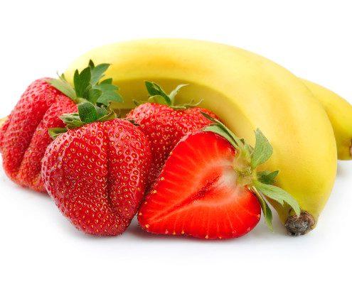 Juicy strawberry with banana